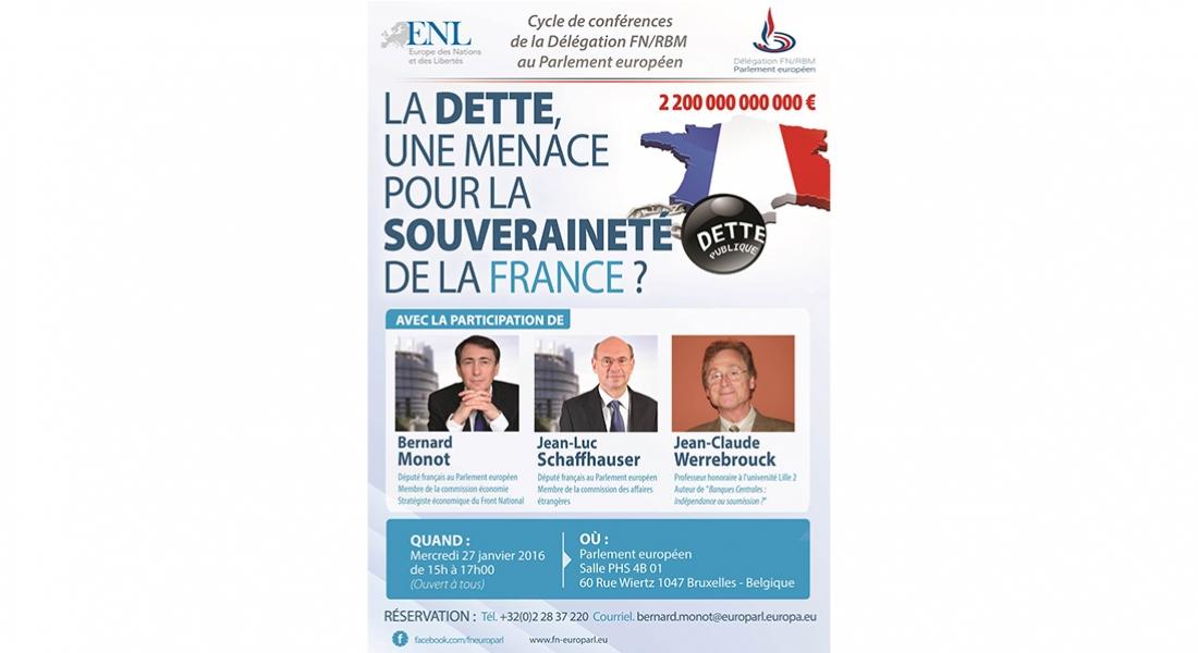 Conférence à Bruxelles: « la dette une menace pour la souveraineté de la France ? »