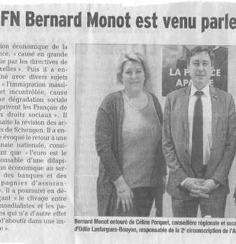 [ Presse ] L'eurodéputé FN Bernard Monot est venu parler d'économie