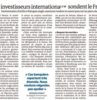 [Le Monde ] Quand les investisseurs internationaux sondent le Front national.